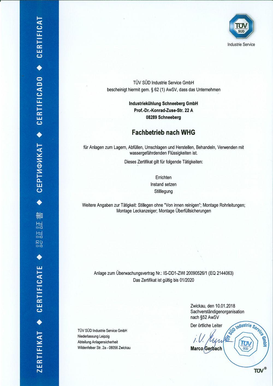 certificate - IKS - Industriekühlung Schneeberg